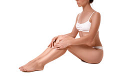 Misura e bella donna sportiva con forma perfetta Ragazza nel bianco Immagine Stock Libera da Diritti