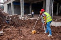 Misura e controllo in loco della costruzione di edifici di Wanzhou Immagini Stock Libere da Diritti