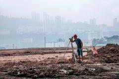 Misura e controllo in loco della costruzione di edifici di Wanzhou Fotografie Stock