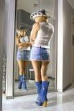 Misure del Blonde su un cotone americano Fotografia Stock Libera da Diritti