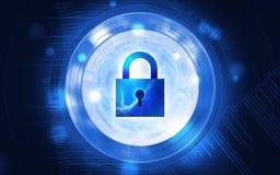 Misure di sicurezza per impedire gli attacchi cyber, illustrazione di immagine Fotografie Stock