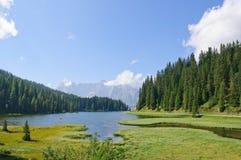 misurina för dolomitesitaly lake Arkivfoton