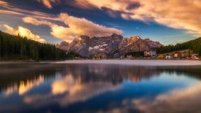 Misurina Lake, on Dolomites Italian Alps seen at sunrise. Sora. Piss mountain in the background. South Tyrol, Dolomites, Italy Royalty Free Stock Image