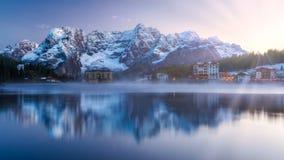 Misurina Lake, on Dolomites Italian Alps seen at sunrise. Sora. Piss mountain in the background. South Tyrol, Dolomites, Italy Royalty Free Stock Photography