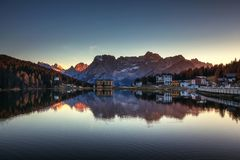 Misurina Lake, on Dolomites Italian Alps seen at sunset. Sorap. Iss mountain in the background. South Tyrol, Dolomites, Italy Royalty Free Stock Photography