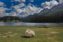 Misurina lake, Dolomites, Italy. The lake is famous for its beautiful views of the Tre Cime di Lavaredo Stock Image