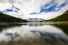 Misurina lake. Immersive view of Misurina lake Stock Image