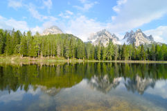 Misurina lake panorama in the background Dolomiti mountains in Cortina d'Ampezzo, northern Italy Stock Images