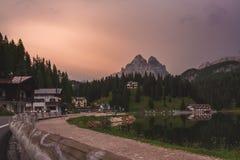 Misurina. Lake roadside, Trentino, Italy Stock Photography