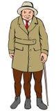 Mit Beinen versehener Mann drei Stockbild
