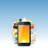 Mit Berührungseingabe Bildschirm Smartphone mit Wolke von Apps-Ikonen Lizenzfreie Stockfotografie