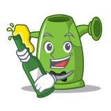 Mit Biergießkanne-Charakterkarikatur Stockbild