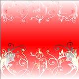 Mit Blumen auf rotem Hintergrund Stockbilder