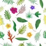 Mit Blumen und Blätter des Sommers, natürliches nahtloses Muster Stockfotografie