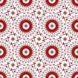 Mit Blumenorientalisches, arabisch, islamisch, Verzierung, geometrisch im weißen und roten nahtlosen Vektor-Muster-Fliesen-Bescha stock abbildung