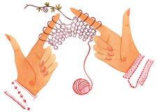 Mit der Hand stricken Stockfotos