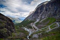 Mit der Schleppangel fischen Straße, Norwegen. Stockbilder