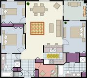 Mit drei Schlafzimmern Fußbodenplan Stockfoto