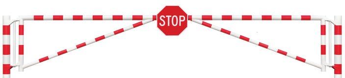 Mit einem Gatter versehene Straßen-Sperren-Nahaufnahme, achteckige Stoppschild-Fahrbahn-Tor-Stange stockfoto