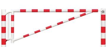 Mit einem Gatter versehene Straßen-Sperren-Nahaufnahme, Fahrbahn-Tor-Stange im hellen weißem und Rotem, Verkehrs-Eintritts-Endblo Stockbilder