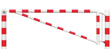 Mit einem Gatter versehene Straßen-Sperren-Nahaufnahme, Fahrbahn-Tor-Stange im hellen weißem und Rotem, Verkehrs-Eintritts-Endblo Lizenzfreie Stockfotos