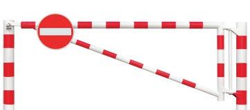 Mit einem Gatter versehene Straßen-Sperren-Nahaufnahme, kein Eintritts-Zeichen, Fahrbahn-Tor-Stange im hellen weißem und Rotem, V lizenzfreies stockfoto
