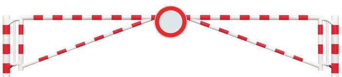 Mit einem Gatter versehene Straßen-Sperren-Nahaufnahme, ringsum kein Fahrzeug-Zeichen, Fahrbahn-Tor-Stange in hellem weißem und r Lizenzfreies Stockfoto