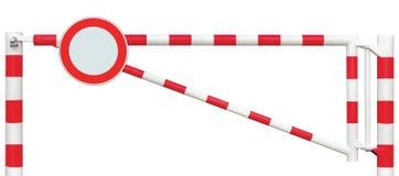 Mit einem Gatter versehene Straßen-Sperren-Nahaufnahme, ringsum kein Fahrzeug-Zeichen, Fahrbahn-Tor-Stange in hellem weißem und r Lizenzfreie Stockfotografie