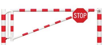 Mit einem Gatter versehene Straßen-Sperren-Nahaufnahme, achteckiges Stoppschild, Fahrbahn-Tor-Stangen-heller weißer roter Verkehr Stockfotos