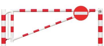 Mit einem Gatter versehene Straßen-Sperren-Nahaufnahme, kein Eintritts-Zeichen, Fahrbahn-Tor-Stangen-weißes Rot, Verkehrs-Endbloc Stockfotos
