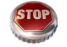 Mit einer Kappe bedeckte Grenze-Stoppschild-Schutzkappe Stockbild