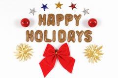 Mit einer roten Schleife frohe Feiertage beschriften Lizenzfreie Stockbilder