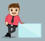 Mit Fahne - Büro und Geschäftsleute Zeichentrickfilm-Figur-Vektor-Illustrations-Konzept- Stockbild