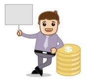 Mit Fahne u. Währung - Büro und Geschäftsleute Zeichentrickfilm-Figur-Vektor-Illustrations-Konzept- Lizenzfreie Stockfotos