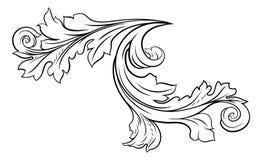 Mit Filigran geschmücktes Muster-Rollen-mit BlumenDesign vektor abbildung