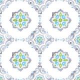 Mit Filigran geschmücktes nahtloses Muster des Aquarells Lizenzfreies Stockbild