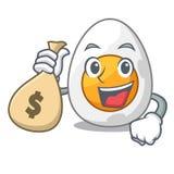 Mit Geldtaschenkarikatur gekochtes Ei geschnitten zum Frühstück stock abbildung