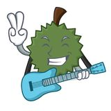 Mit Gitarre Durianmaskottchen-Karikaturart Lizenzfreies Stockbild
