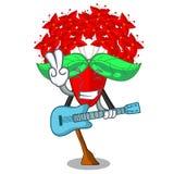 Mit Gitarre Ixora-Blumen in den Karikaturtöpfen vektor abbildung