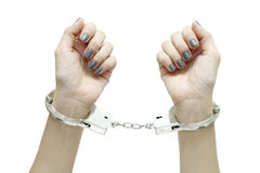 Mit Handschellen gefesselt Stockfoto