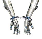 Mit Handschellen gefesselter Roboter - Cyber-Verbrechen Stockbilder