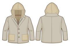 Mit Kapuze hellbraune Jacke mit Zipschließung und -taschen Lizenzfreie Stockfotos
