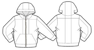 Mit Kapuze Jacke mit Reißverschlussschließung Stockbilder