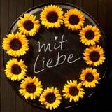 Mit Liebe - With Love - sunflower frame Stock Photo