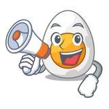 Mit Megaphonkarikatur gekochtes Ei geschnitten zum Frühstück lizenzfreie abbildung