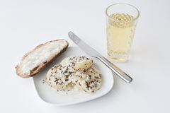 Mit Musik de Handkaes da juta, queijo forte com cidra Foto de Stock Royalty Free