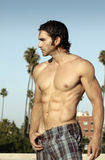 Mit nacktem Oberkörper Mannprofil Stockfoto