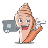 Mit Oberteil-Charakterkarikatur des Laptops netter Lizenzfreies Stockfoto