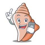 Mit Oberteil-Charakterkarikatur des Telefons netter Lizenzfreies Stockbild