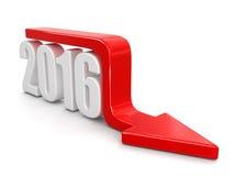 2016 mit Pfeil unten Lizenzfreie Stockfotografie